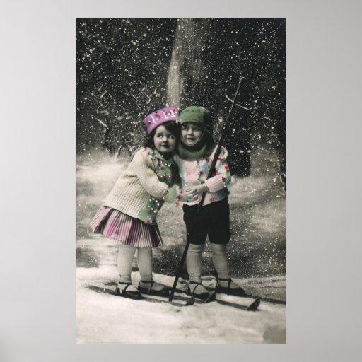 Vintage Christmas, Best Friends on Skis Print