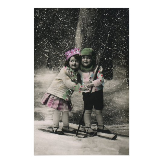 Vintage Christmas, Best Friends on Skis Poster