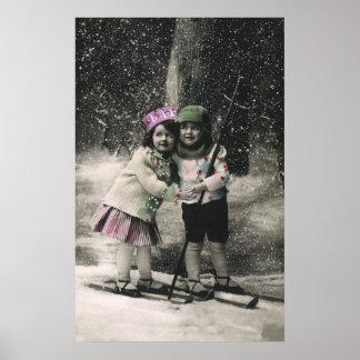 Vintage Christmas Best Friends on Skis Print