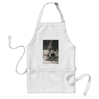 Vintage Christmas, Best Friends on Skis Standard Apron