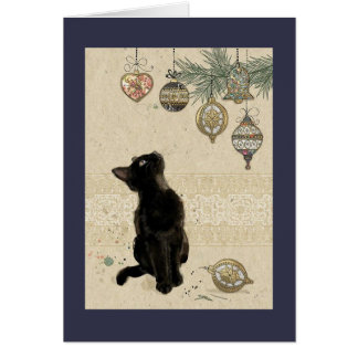Vintage Christmas Black Cat Looking At Ornaments Card
