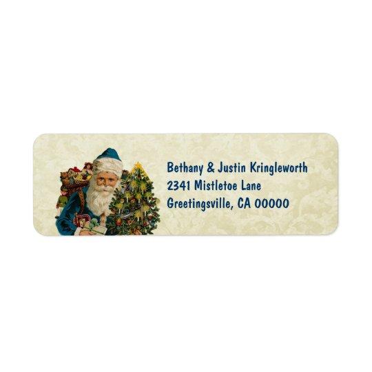 Vintage Christmas Blue Santa and Tree CH503 Return Address Label