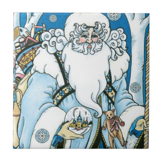 Vintage Christmas, Blue Santa Claus with Snowglobe Tile