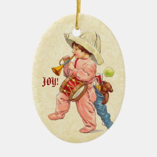 Vintage Christmas Boy Marching with Trumpet Drum Ceramic Oval Decoration
