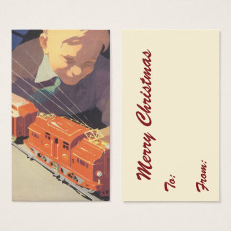 Vintage Christmas, Boy Playing with Toys Trains Business Card