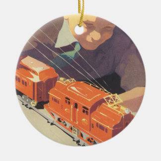 Vintage Christmas, Boy Playing with Toys Trains Christmas Tree Ornament