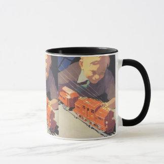 Vintage Christmas, Boy Playing with Toys Trains Mug