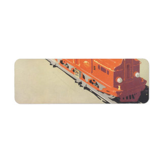 Vintage Christmas, Boy Playing with Toys Trains Return Address Label