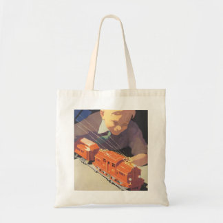 Vintage Christmas, Boy Playing with Toys Trains Tote Bag