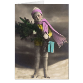 Vintage Christmas Boy, Tree & Gifts Greeting Card