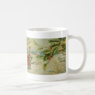 Vintage Christmas Bridge and Children Coffee Mugs