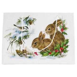 Vintage Christmas Bunnies in the Snow Large Gift Bag
