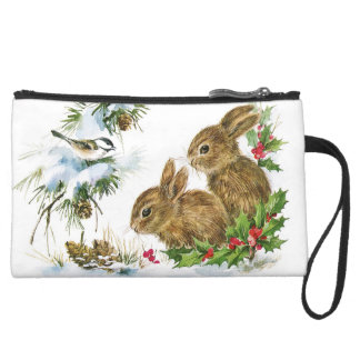 Vintage Christmas Bunnies in the Snow Suede Wristlet