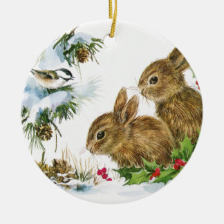 Vintage Christmas Bunnies Round Ceramic Decoration