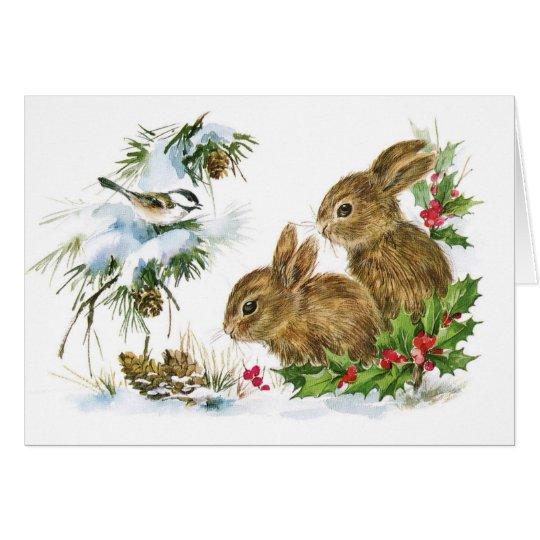 Vintage christmas bunny rabbits blank holiday card