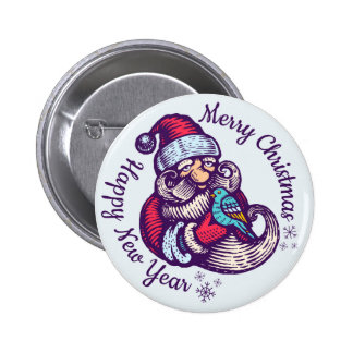 Vintage Christmas button with Santa Claus