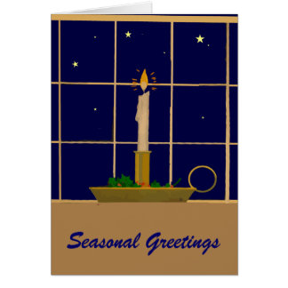 Vintage Christmas candle in the window Card