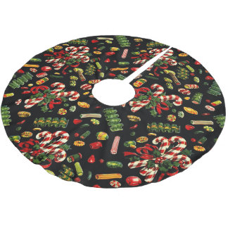 Vintage Christmas Candy Tree Skirt Brushed Polyester Tree Skirt
