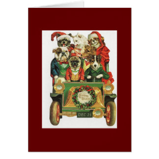 Vintage Christmas Car Load Of Dogs Card