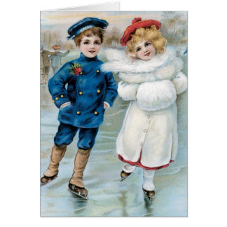 Vintage Christmas Card Children Ice Skating