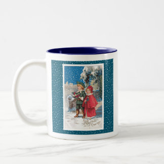 Vintage Christmas Card, Children in a Winter Scene Coffee Mug