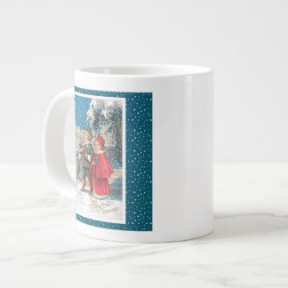 Vintage Christmas Card, Children in a Winter Scene Extra Large Mug