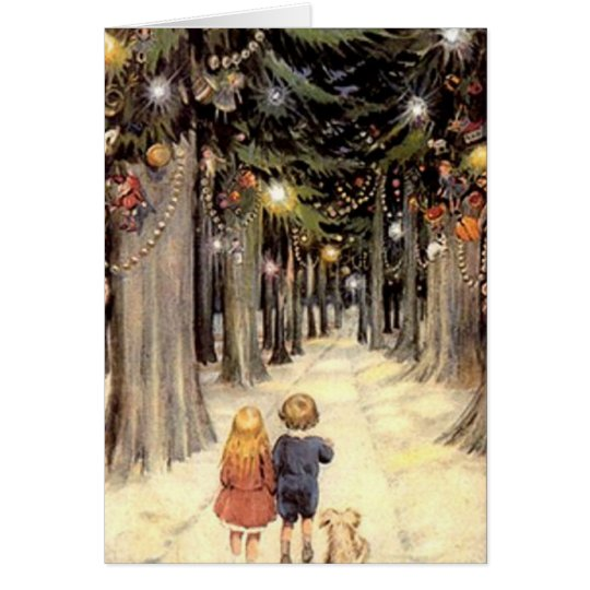 Vintage Christmas Card Children Puppy Blank Inside