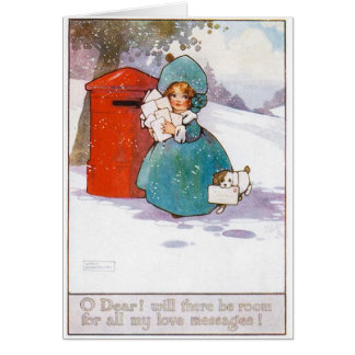 Vintage Christmas Card, early 19th century Card