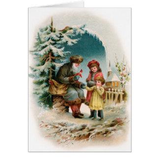 Vintage Christmas Card - German Santa