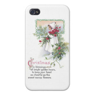 Vintage Christmas Card Little Girl with Poinsettia Covers For iPhone 4