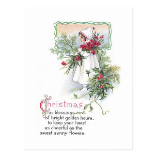 Vintage Christmas Card Little Girl with Poinsettia Postcards