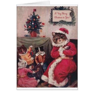 Vintage Christmas Card, Louis Wain Cats Card
