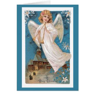 Vintage Christmas Card - Merry Christmas Angel