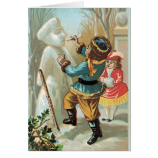 Vintage Christmas Card Russian Kids