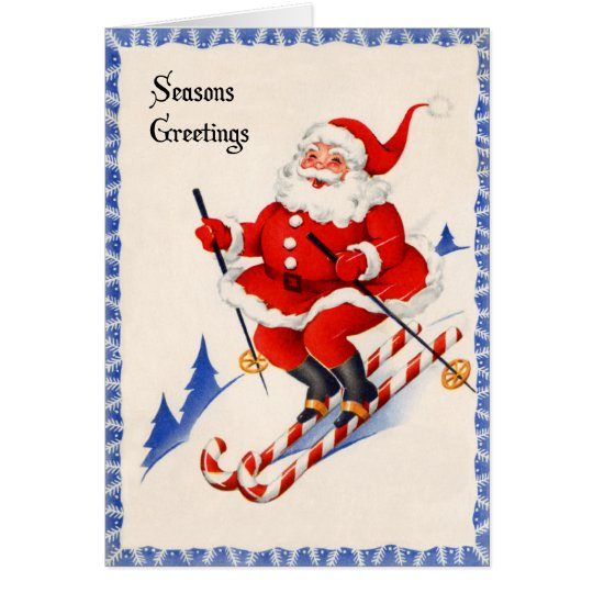 Vintage Christmas Card - Santa on Candy Cane