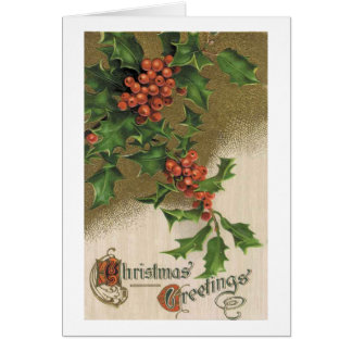 Vintage Christmas Card - Victorian Holly