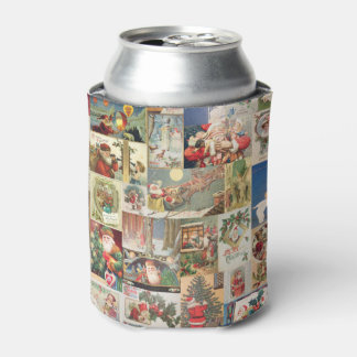 Vintage Christmas Cards Holiday Pattern Can Cooler