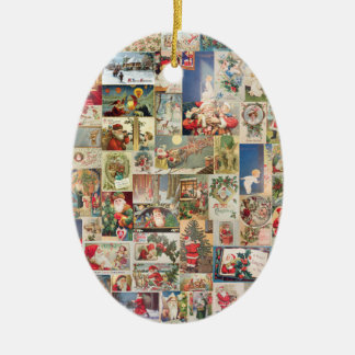 Vintage Christmas Cards Holiday Pattern Christmas Ornament