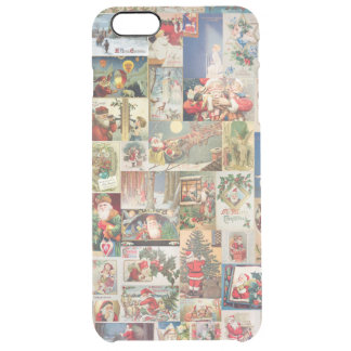 Vintage Christmas Cards Holiday Pattern Clear iPhone 6 Plus Case
