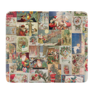 Vintage Christmas Cards Holiday Pattern Cutting Board