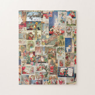 Vintage Christmas Cards Holiday Pattern Jigsaw Puzzle