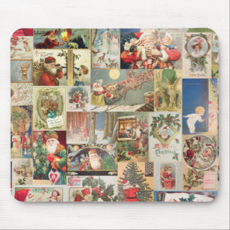 Vintage Christmas Cards Holiday Pattern Mouse Mat