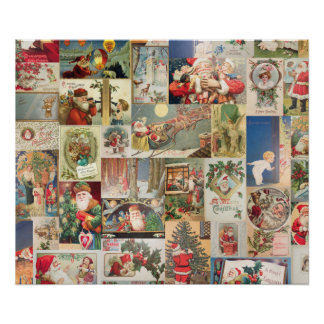 Vintage Christmas Cards Holiday Pattern Poster