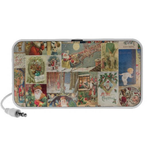 Vintage Christmas Cards Holiday Pattern Notebook Speakers