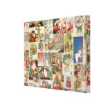 Vintage Christmas Cards Holiday Pattern Stretched Canvas Prints