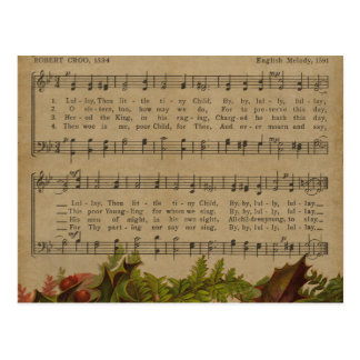 Vintage Christmas Carol Music Sheet Postcard