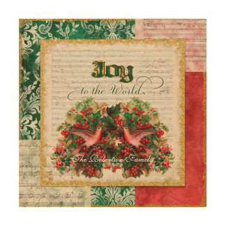 Vintage Christmas Carol Sheet Music Joy to World Wood Wall Decor