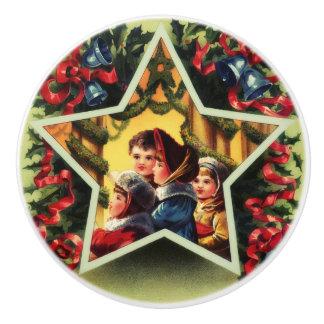 Vintage Christmas Carolers Ceramic Knob