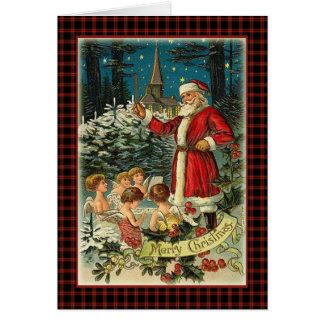 Vintage Christmas carols, Santa  and Angels Card