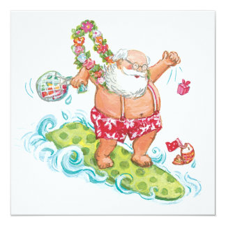 Vintage Christmas Cartoon Surfing Santa Claus 13 Cm X 13 Cm Square Invitation Card